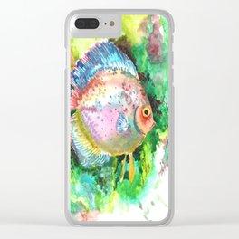 Aquarium Fish, Discus, Pink Green Illustration Clear iPhone Case