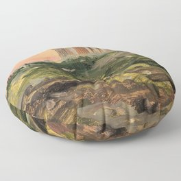 The Parthenon From The Southeast - Digital Remastered Edition Floor Pillow