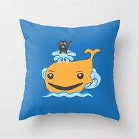 surfing Throw Pillows featuring Surfing by Hagu