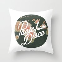panic at the disco Throw Pillows featuring Panic! at the disco  by Elianne