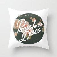 panic at the disco Throw Pillows featuring Panic! at the disco  by Van de nacht