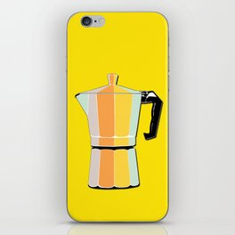 Retro Coffee Pot - Vintage Spring Colors on Hello Sunshine Background iPhone Skin
