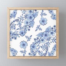 Blue Rhapsody on white Framed Mini Art Print