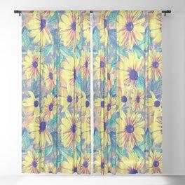 Black-Eyed Susan Pattern 2 Sheer Curtain