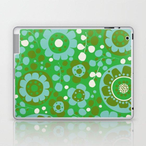retro flower-olive Laptop & iPad Skin