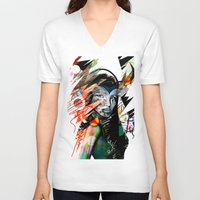 mask V-neck T-shirts featuring Mask  by Irmak Akcadogan
