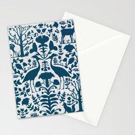 Folk Art Pattern Blue Teal on Gray Stationery Cards