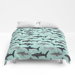Sharks nature animal illustration texture print marine biologist sea life ocean Andrea Lauren Comforters