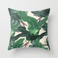 banana leaf Throw Pillows featuring Banana Leaf Pattern by Tamsin Lucie