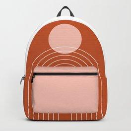 Mid Century Modern Geometric 50 in Rose Gold Terracotta Backpack