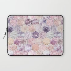 Rose Quartz and Amethyst Stone and Marble Hexagon Tiles Laptop Sleeve