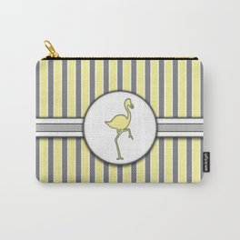 Yellow Flamingo Stripes Pattern Design Carry-All Pouch