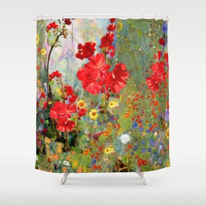 Red Geraniums in Spring Garden Landscape Painting Shower Curtain