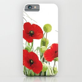 Poppies Flower Field red with background iPhone Case