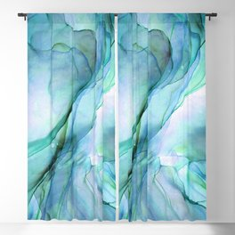 Aqua Turquoise Teal Abstract Ink Painting Blackout Curtain
