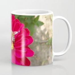 Scarlet Zinnia flower and Bee Coffee Mug