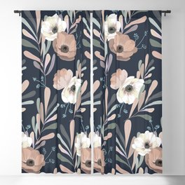 Anemones & Olives blue Blackout Curtain
