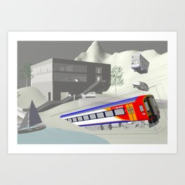 Concentric Train Boxes Art Print