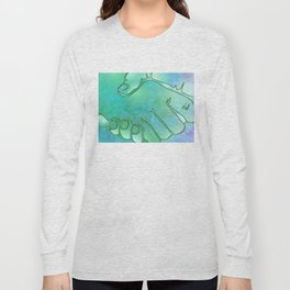 Cargiver Hands Blue and Green Harmony Long Sleeve T-shirt