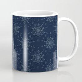 Indigo Arabesque Flower Motif Japanese Style Coffee Mug