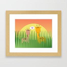 Giraffe Love Framed Art Print