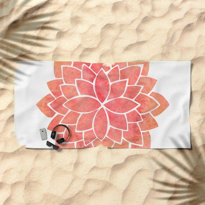 Salmon Mandala Beach Towel