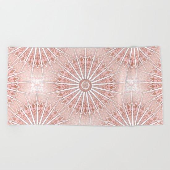 Blush Apricot Mandala Beach Towel