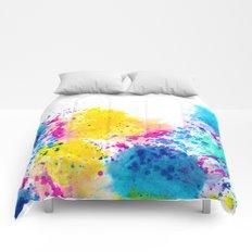 Blue Yellow Abstract Watercolor Neon Pink Splatter Comforters