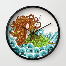 Mermaid Waves Wall Clock