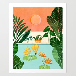 Shangri La Sunset / Exotic Landscape Illustration Art Print