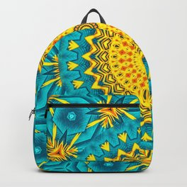 Birds of Paradise Circular Geometric Blended Floral Pattern \\ Yellow Green Blue Teal Color Scheme Backpack