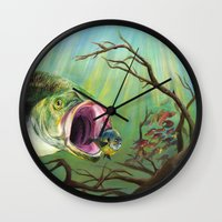 clueless Wall Clocks featuring Large Mouth Bass and Clueless Blue Gill Fish by Sonya ann