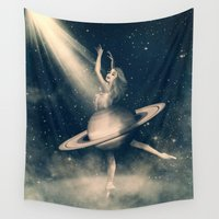 saturn Wall Tapestries featuring When Saturn Starts Dancing by Paula Belle Flores