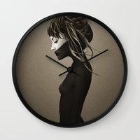 sex and the city Wall Clocks featuring This City by Ruben Ireland