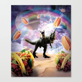Space Pug Riding Dinosaur Unicorn - Hotdog & Taco Canvas Print