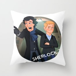 Sherlock Holmes and Watson cartoon Throw Pillow