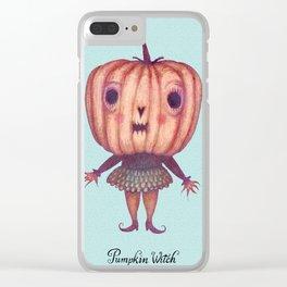 Pumpkin Witch Clear iPhone Case
