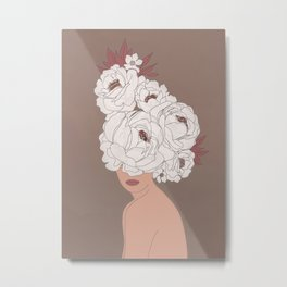 Woman with Peonies Metal Print