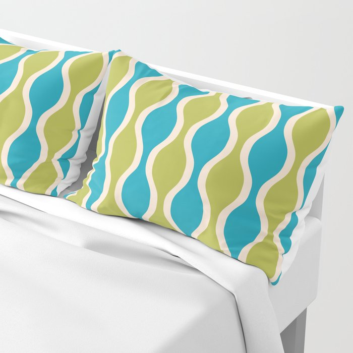 Classic Retro Ogee Pattern 852 Turquoise and Olive Pillow Sham