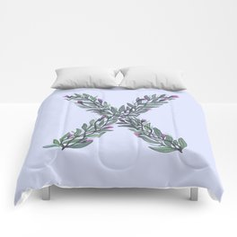 Leafy Letter X Comforters