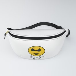 Smiley Bikini Have a Nice Beach Day In White Fanny Pack