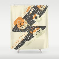 selena Shower Curtains featuring Dj's Lightning by Sitchko Igor