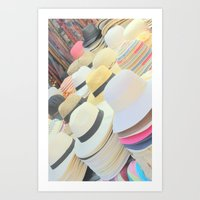hats Art Prints featuring Hats by Eva Lesko