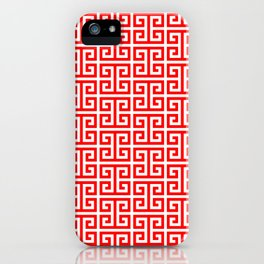 Red and White Greek Key Pattern iPhone Case