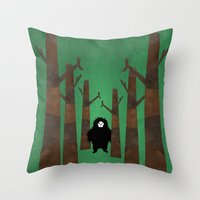sasquatch Throw Pillows featuring Sasquatch in Trees by Ryan W. Bradley