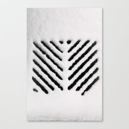 Snowy Manhold Cover in Black & White Canvas Print
