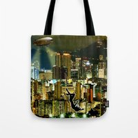 gravity Tote Bags featuring Gravity by Danielle Tanimura