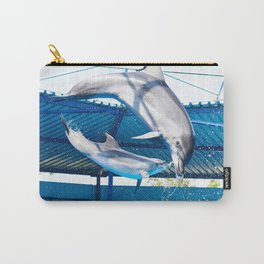 Dolphins jumping out of water on show Carry-All Pouch