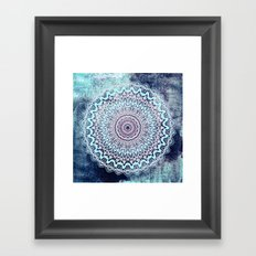 BLUE AUTUMN BOHO MANDALA Framed Art Print