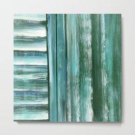 Wooden Shutters in Seafoam Green Metal Print